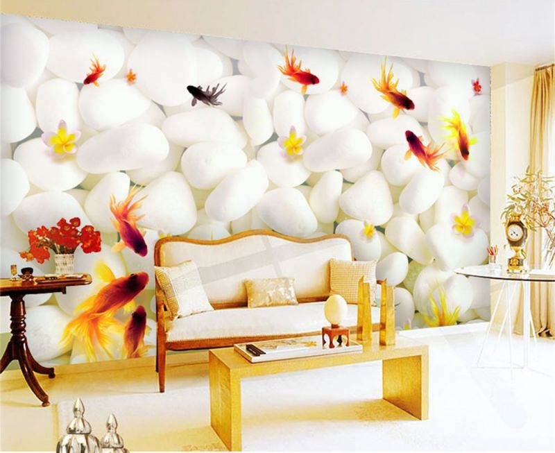3d-room-wallpaper-custom-hd-photo-mural-goldfish-white-font-b-pebble-b-font-tv-sofa