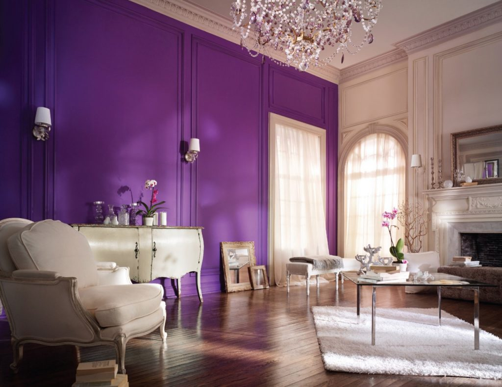Beautiful accent wall for dining room with lavender color 2
