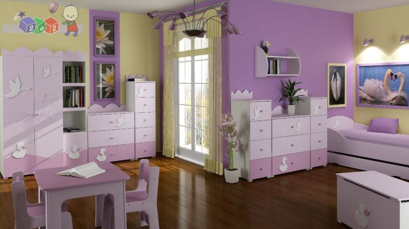 exciting-purple-kids-room-design-with-awesome-furniture