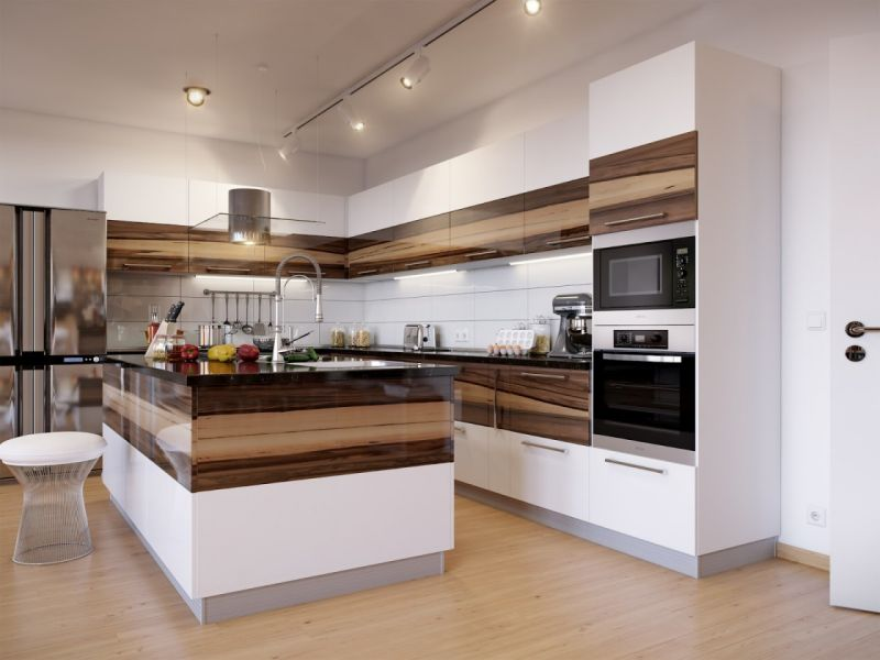 fabulous-kitchen-design-inspiration-with-unusual-white-gloss-and-dark-brown-stained-walnut-color-kitchen-cabinets-combination-added-custom-track-fixture-spot-lights-1120x840