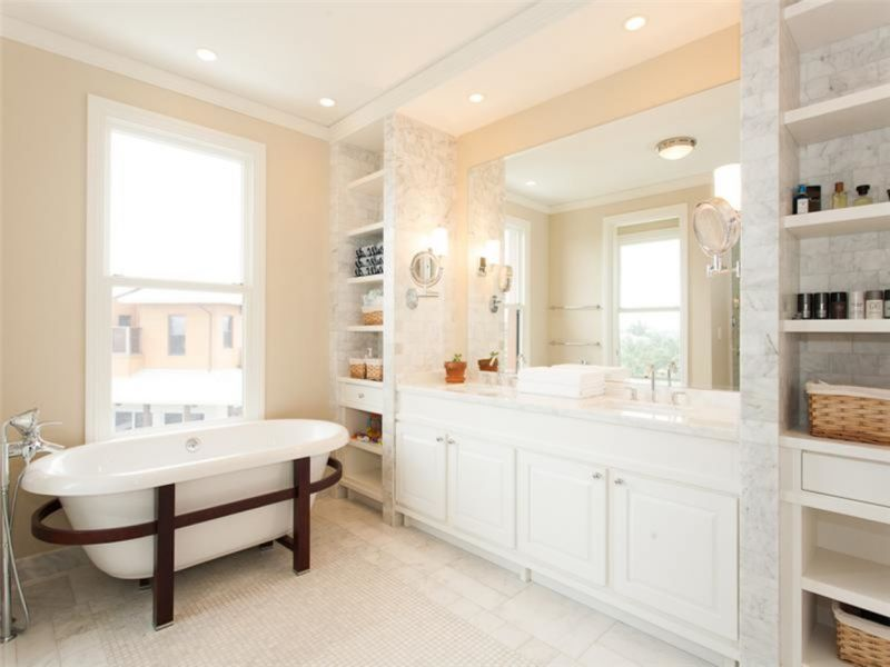pure-white-bathroom-interior-and-recessed-light-plus-beige-wall-paint-color-background