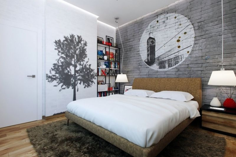 contemporary-bedroom-brick-walls-decorating-idea