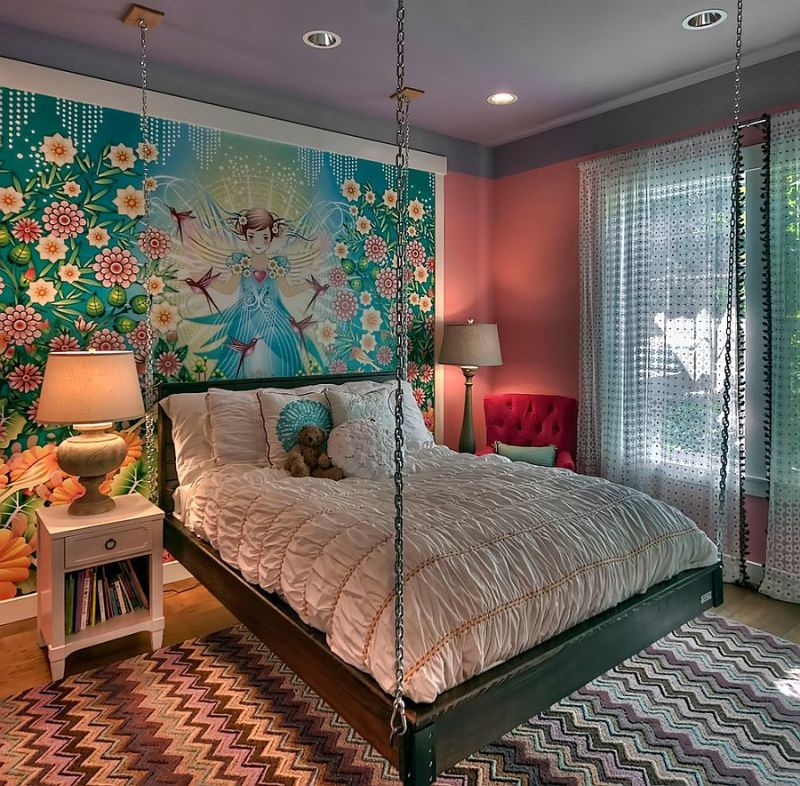 custom-wall-mural-and-hanging-bed-create-an-ingenious-girls-bedroom