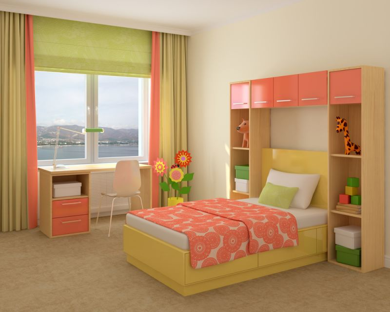 Colorful interior of playroom. 3d render.