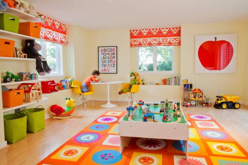 geometric-and-floral-mat-in-brightly-colored-childs-playroom-best-picture-of-kids-playroom-ideas-playroom-ideas-for-boys-diy-playroom-ideas