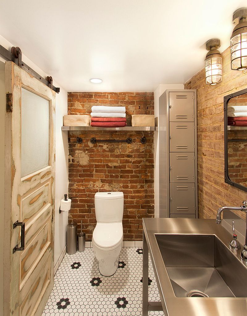 salvaged-decor-shapes-small-industrial-bathroom-with-exposed-brick-walls
