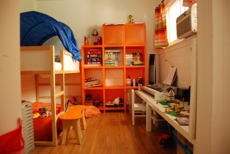 alluring-kids-room-ideas-with-ikea-wooden-bunk-beds-which-has-blue-tents-and-orange-finish-cubicles-storage-cabinet-plus-white-wooden-study-desk-also-chair-above-solid-wood-laminate-floor