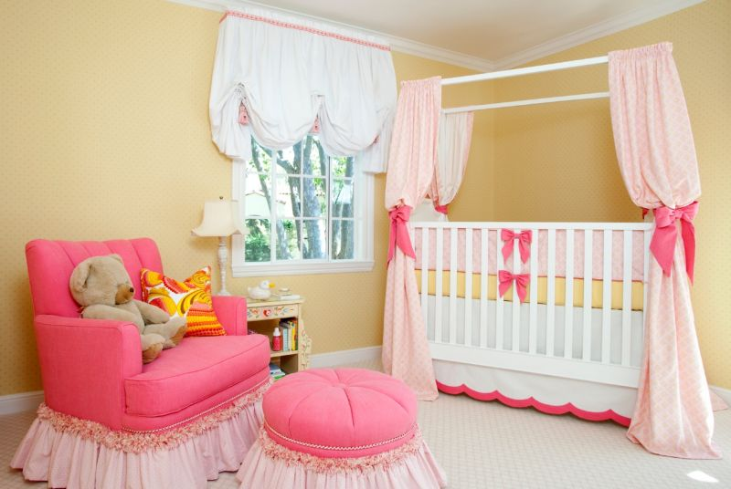 Baby Girl Bedroom Curtains Bright Ba Girl Room White Wooden Canopy Bed Pink Pattern Curtain - Home Design Inspiration