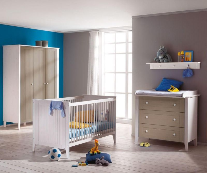 fashionable-nursery-room-design-for-newborn-boy-with-blue-gray-painting-wall-also-white-brown-paint-furniture-set-and-blue-baby-bedding-cribs-for-newborn-baby-boy