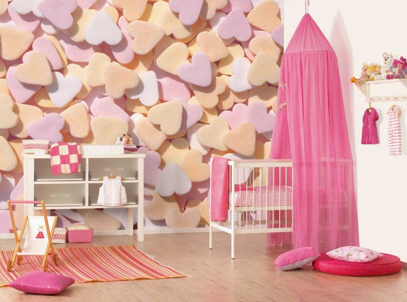 kids-bedroom-teenage-girls-rooms-design-love-hearts-wallpaper-pink-shades-baby-bed-and-white-square-toys-cabinet-colorful-variety-collection-for-kids-room
