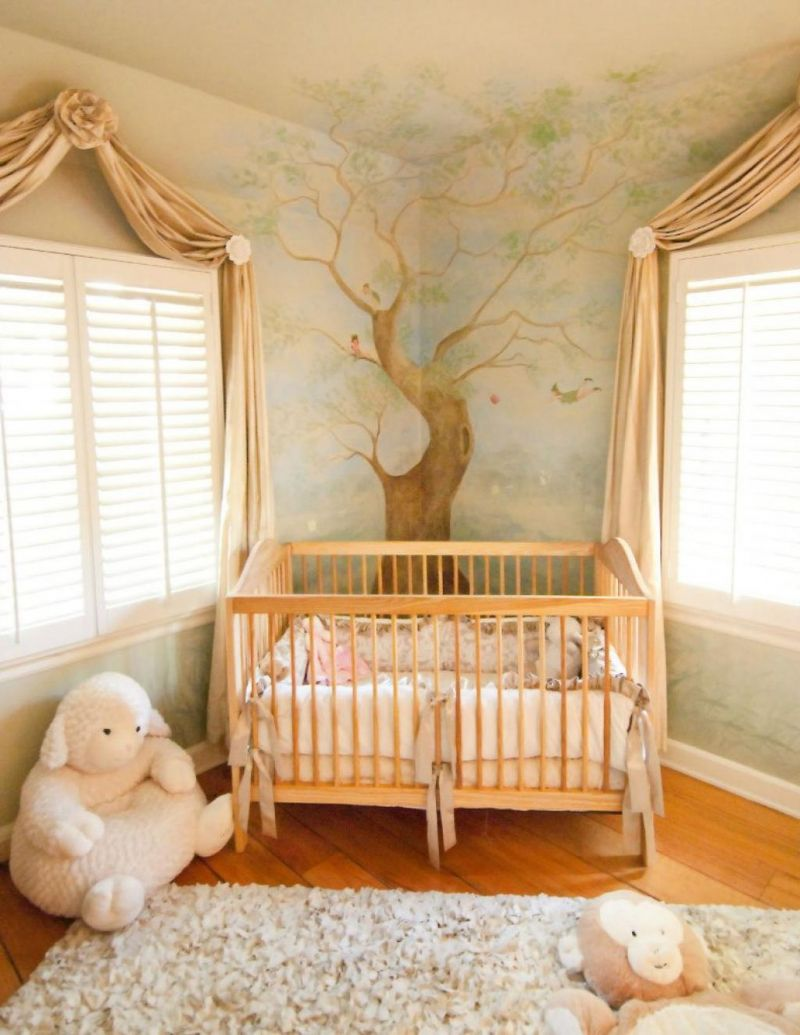 lovely-nursery-room-design-for-newborn-boy-with-beige-wooden-crib-baby-plus-curtain-set-as-well-nice-looking-treen-wallpaper-corner-as-well-elegant-fur-rug-on-hardwood-flooring