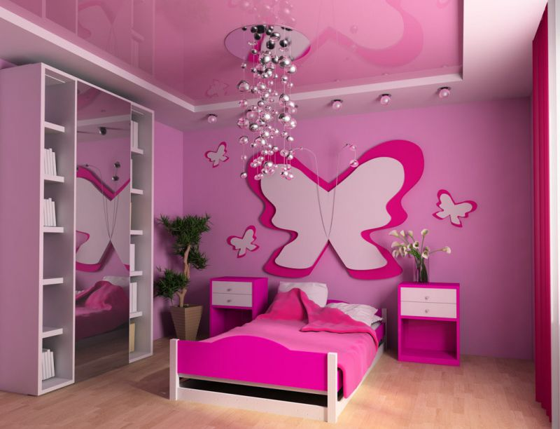 Pink children's room with a bed 3d image