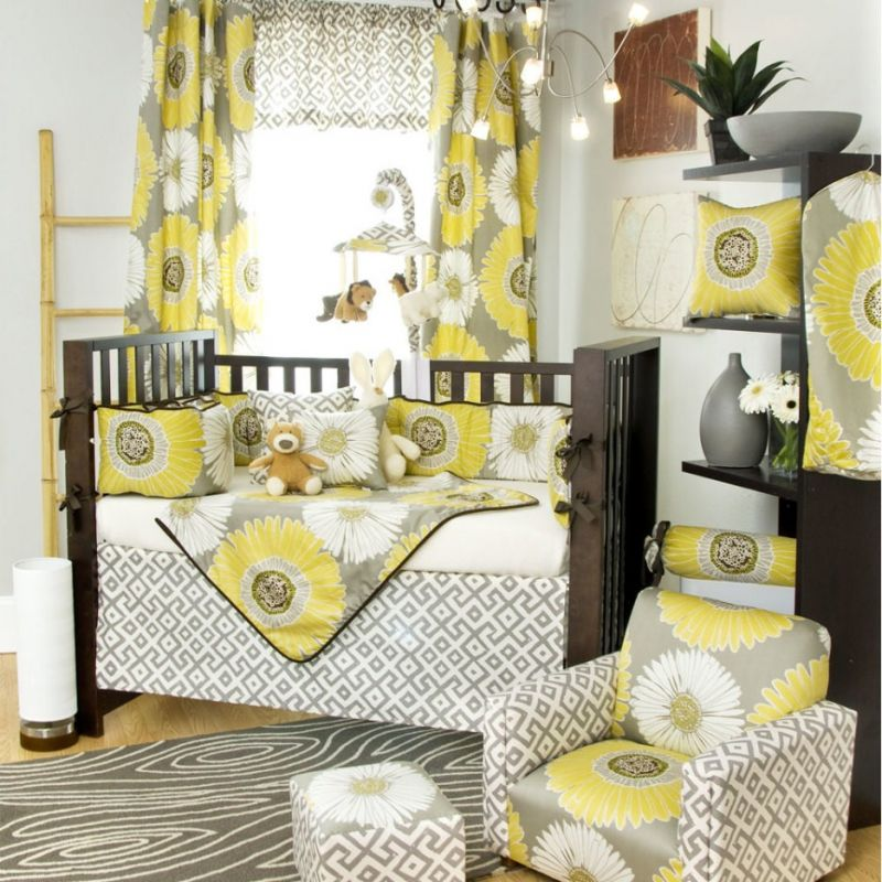 yellow and gray nursery curtains
