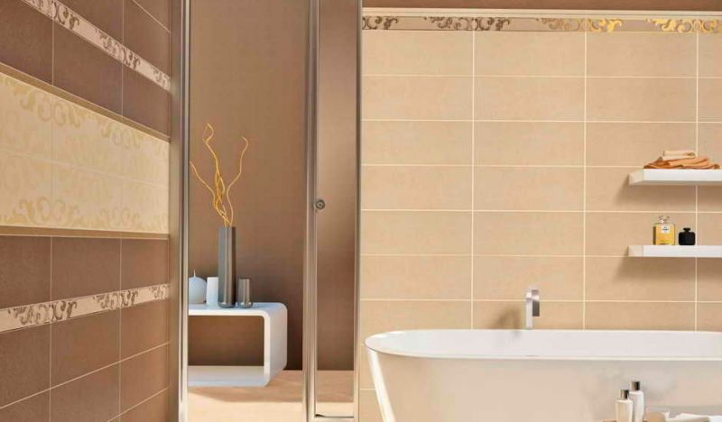monochromatic-beige-bathroom-tile-mixed-with-white-floating-shelves-above-tub-plus-glass-room-divider