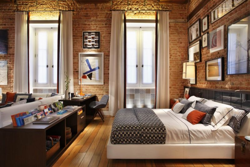 adorable-bedroom-decoration-ideas-with-cool-exposed-brick-wall-and-white-pinch-pleat-curtains-panel-as-well-as-low-queen-size-profile-beds-on-solid-wood-flooring-1120x746