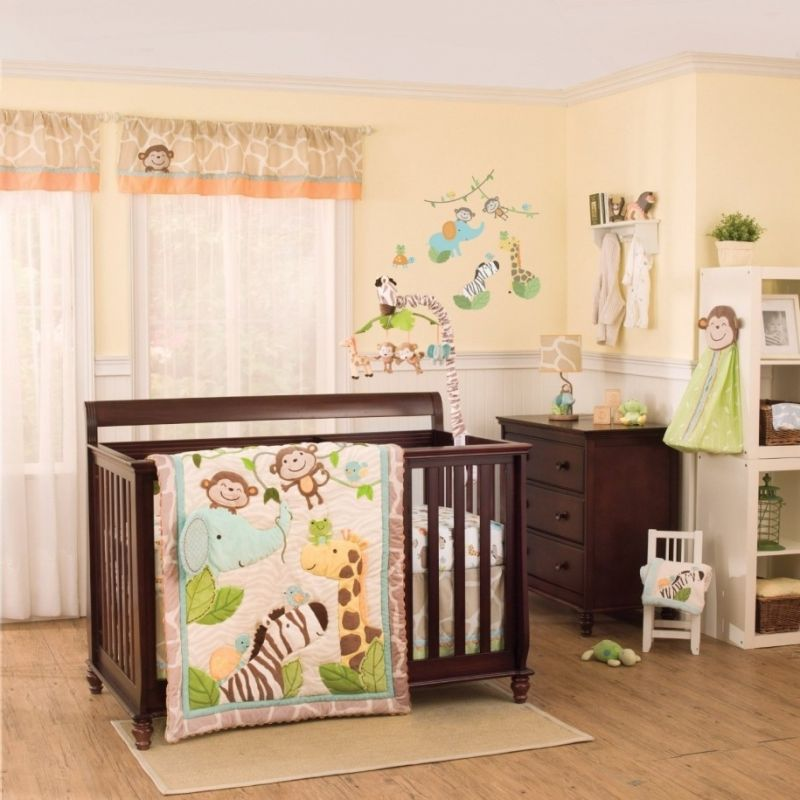 Ba Nursery Ba Room Decoration With Dark Brown Wooden Bed Frame with Baby Nursery curtains with regard to Your own home - Design Decor