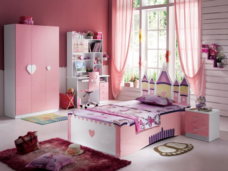 beautiful-bedroom-decoration-for-kids-with-lovely-pink-window-curtain-and-low-wooden-single-bed-in-pink-white-finishing-plus-cute-nightstand-on-the-bedside-also-red-small-rugs