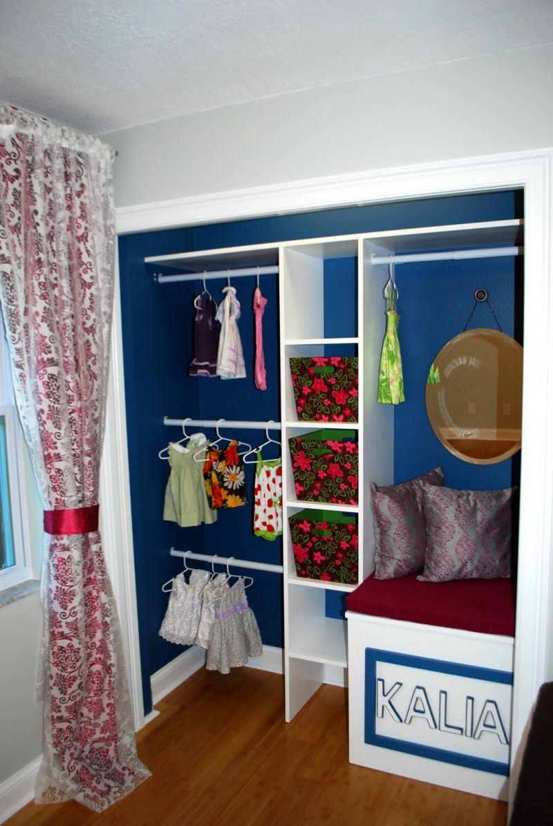 cool-kids-walk-in-closer-ideas-with-blue-painted-wall-and-white-storage