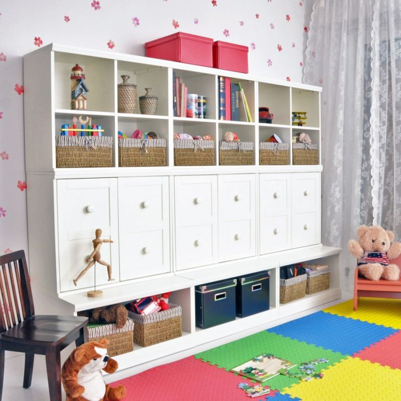 cute-wallpaper-for-kids-room-decor-idea-also-black-wood-chair-design-and-rainbow-carpet-feat-smart-ikea-storage-cabinets