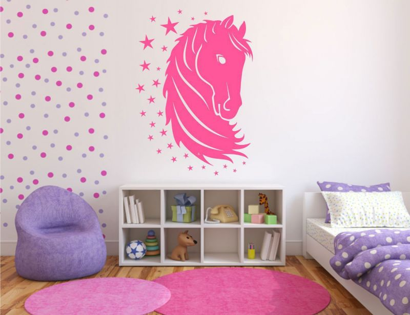 decoration-ideas-bedroom-interior-modern-bedroom-wall-designs-using-white-background-wallpaper-with-pink-horse-wall-stickers-also-wall-mounted-bookshelf-and-purple-cushion-also-pink-furry-rug-creativ