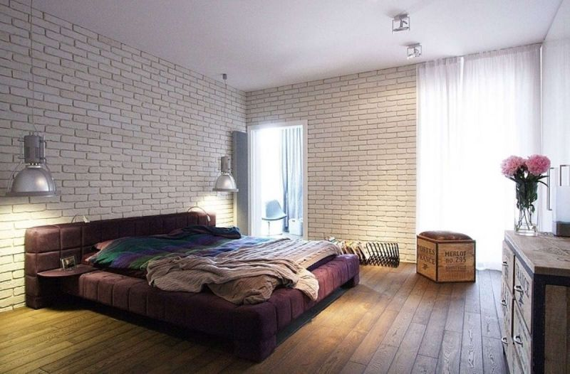excellent-white-plaid-painted-interior-brick-wall-decor-with-small-rectangle-purple-laminated-headboard-and-brown-textured-wood-floor-also-white-transparent-fabric-curtain