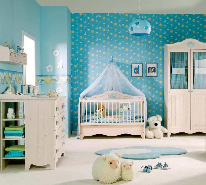 Exterior Funny Ba Room Decor Displaying Blue Wallpaper Walls intended for Luxury Baby Nursery - Design Decor