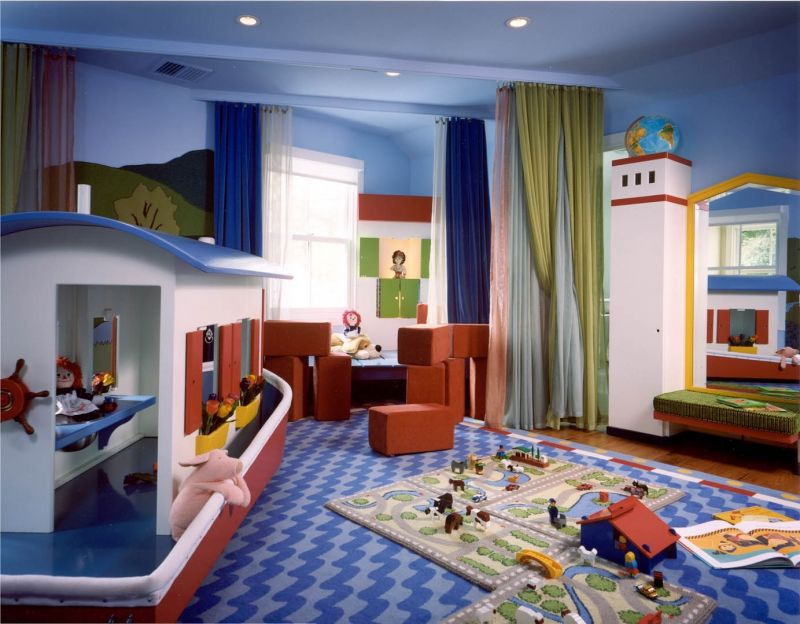 Fancy Kids Playroom Idea With Awesome Boat Miniature And Blue throughout Kids Room Divider - Design Decor
