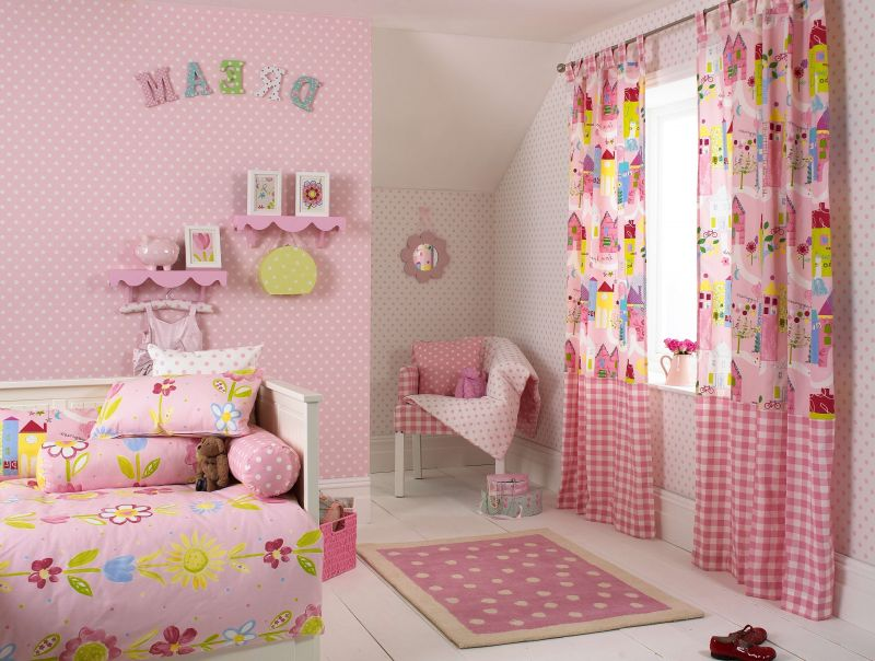 Interior Pink Fabric Curtains On The Hook Connected Small with kids room pink regarding Residence